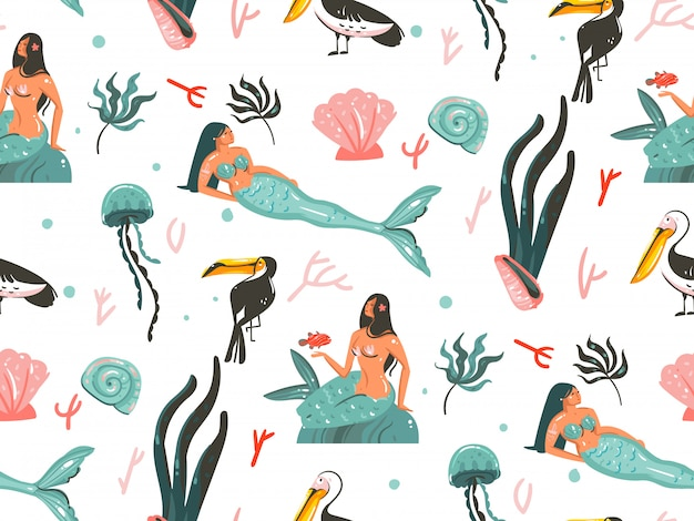 Hand drawn   cartoon  summer time underwater illustrations seamless pattern with jellyfish,fishes and beauty bohemian mermaid girls characters  on white background Premium Vector