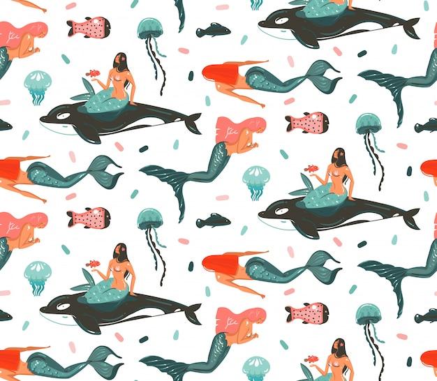 Ручной обращается мультфильм летнее время подводных иллюстраций бесшовные модели с косатками, медузами и красотой богемной русалки девочек символов на белом фоне Premium векторы