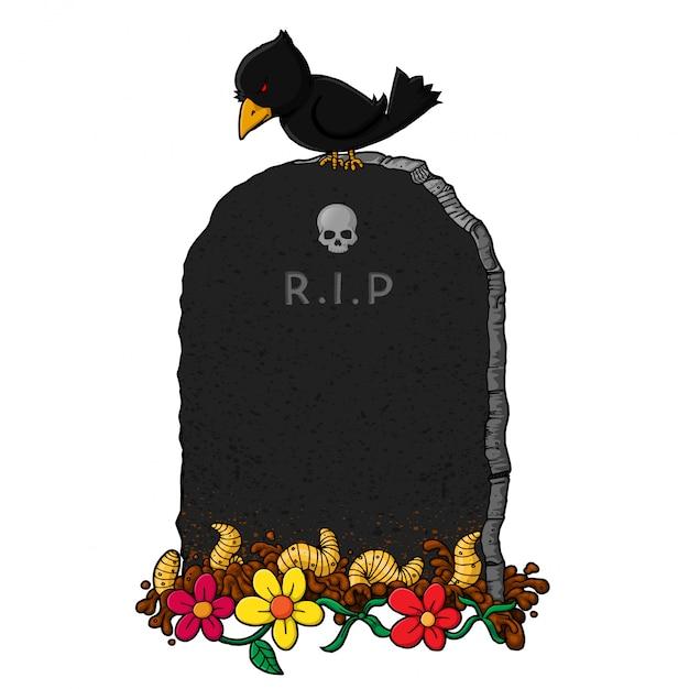 Hand drawn cartoon tombstone. Premium Vector