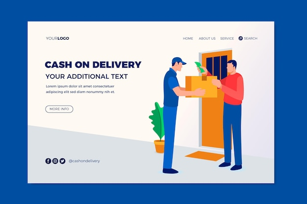 Hand drawn cash on delivery landing page template Free Vector