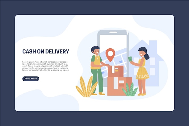 Hand drawn cash on delivery landing page template Premium Vector