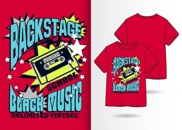 Hand drawn cassette illustration with t shirt design Premium Vector