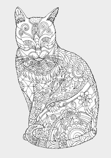 手描きの猫 Premiumベクター