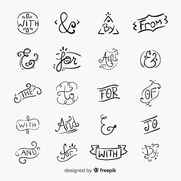 Hand drawn catchword prepositions collection isolated: and, with, for, to Free Vector