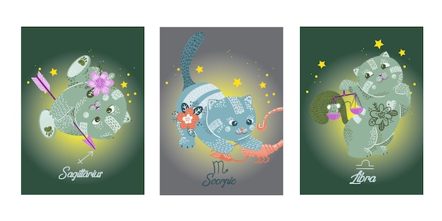 Hand drawn cats zodiac characters on cards Premium Vector
