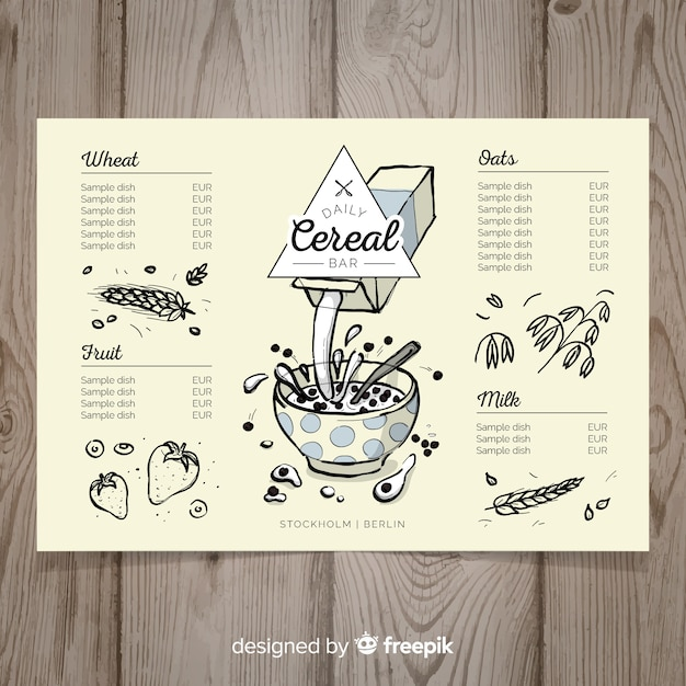 Hand drawn cereals menu template Free Vector