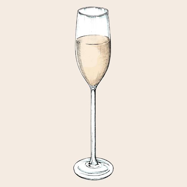 Hand drawn champagne glass Premium Vector