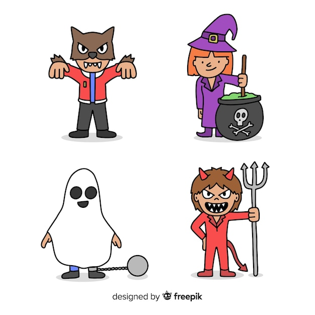 Hand drawn character halloween child costumes Free Vector