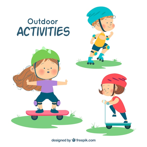 Hand drawn characters doing open air leisure activities Free Vector