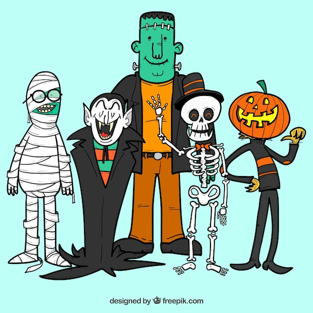 Hand drawn characters of halloween Free Vector