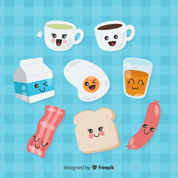 Hand drawn charming breakfast collection Free Vector