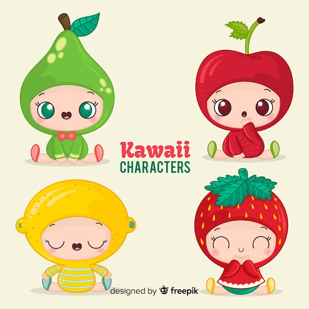 Hand drawn charming disguised babies collection Free Vector