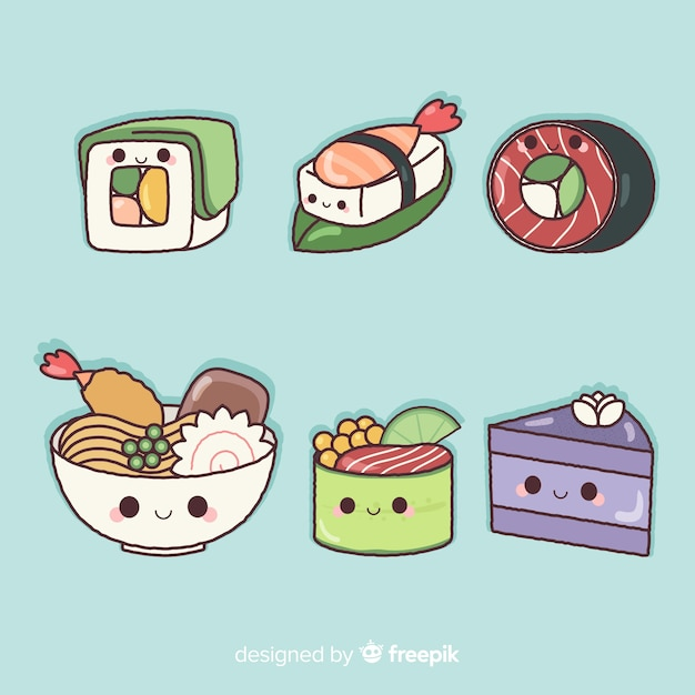 Hand drawn charming sushi collection Free Vector
