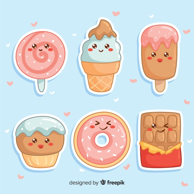 Hand drawn charming sweet food collection Free Vector