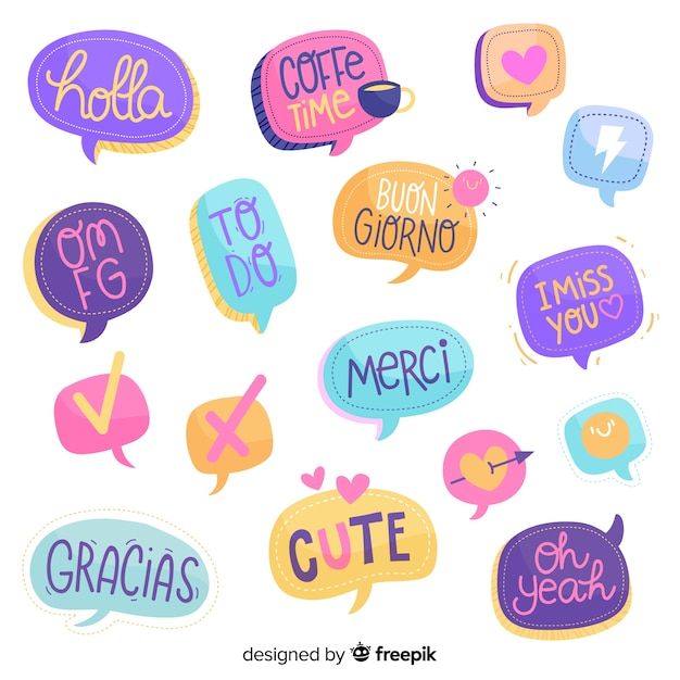 Hand drawn chat bubbles with different expressions Free Vector
