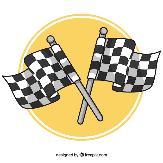 Hand drawn checkered flag background Free Vector