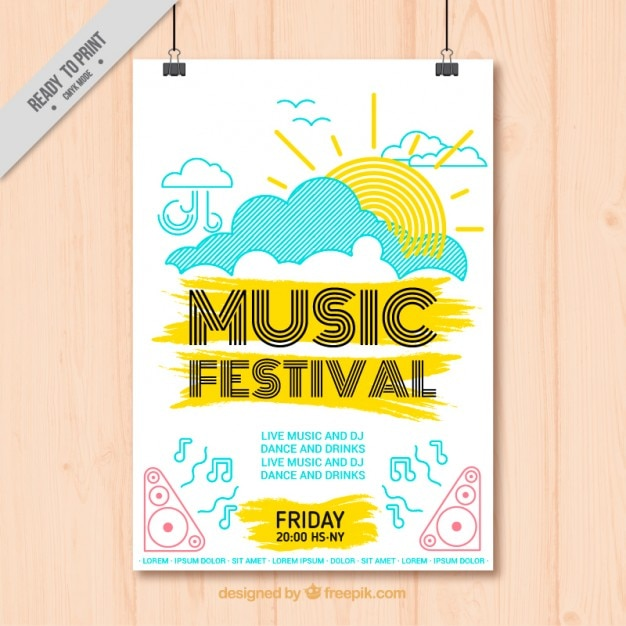 Hand Drawn Cheerful Music Festival Poster Vector Free