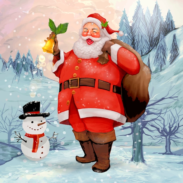 Hand drawn cheerful santa claus carrying a presents sack Free Vector