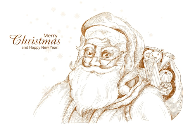 Hand drawn cheerful santa claus sketch card background Free Vector