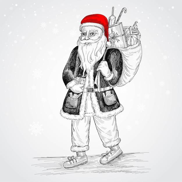 손으로 그린 명랑 산타 클로스 스케치 카드 무료 벡터