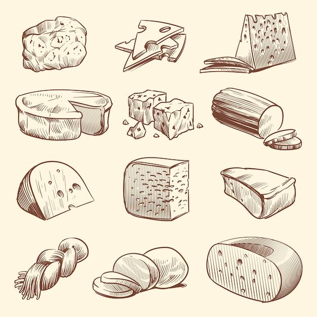 手描きのチーズ。チーズ各種。 Premiumベクター