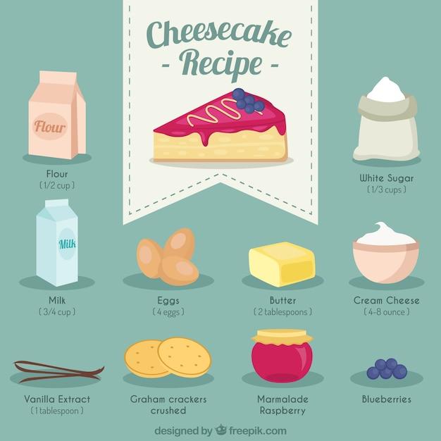 Hand drawn cheesecake recipe Premium Vector