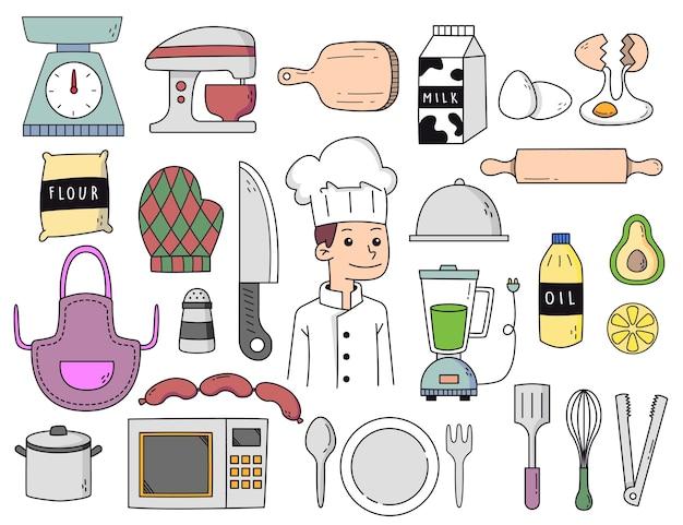 手描きのシェフと料理の落書き Premiumベクター