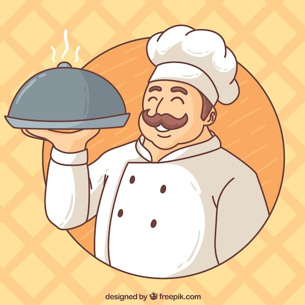 Ручной обращается шеф-повар фон Premium векторы