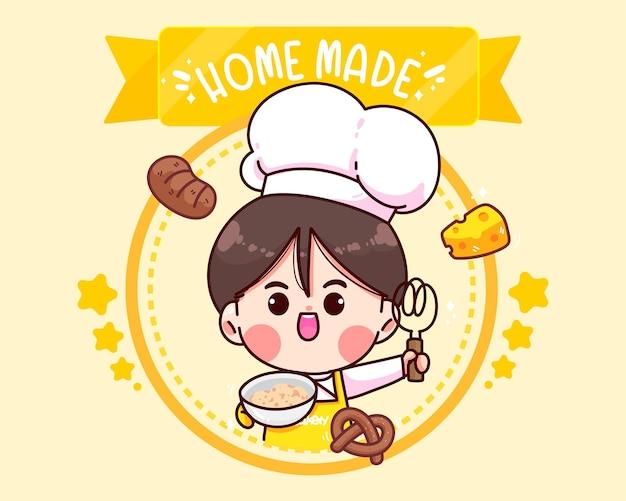 Hand drawn chef and bakery logo cartoon art illustration Free Vector
