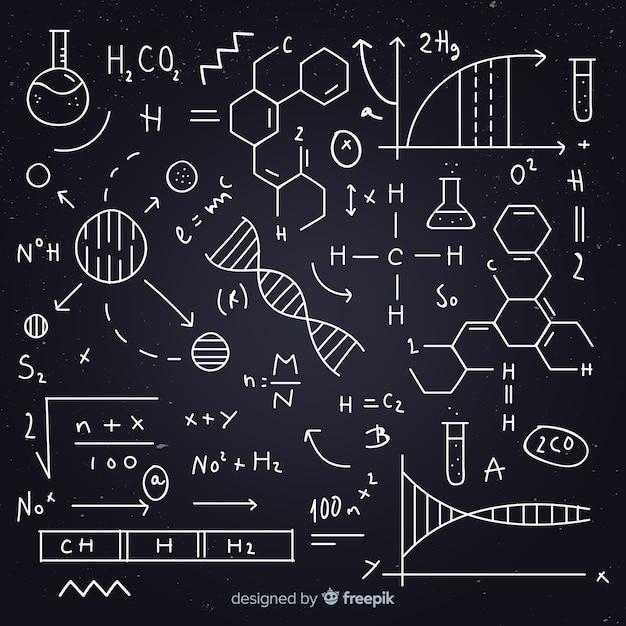 Hand drawn chemistry equation blackboard Free Vector