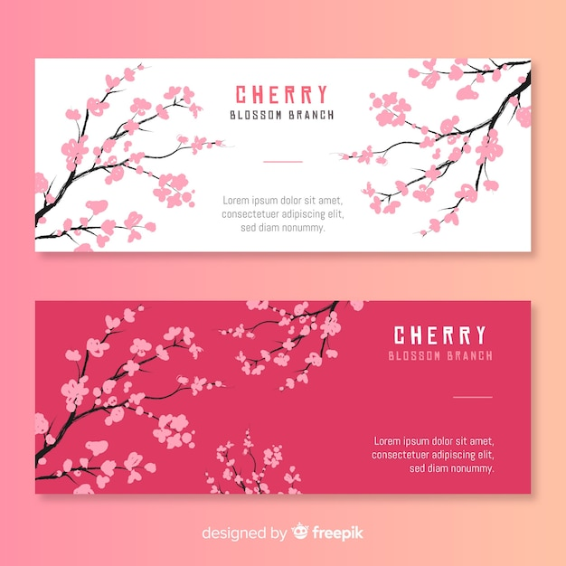 Hand drawn cherry blossom banner Free Vector