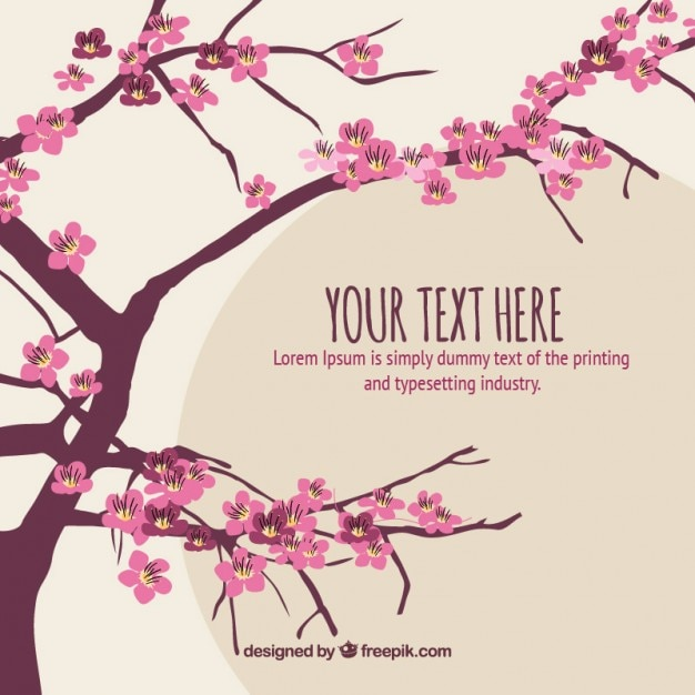 hand drawn cherry tree with a text background_23 2147542026