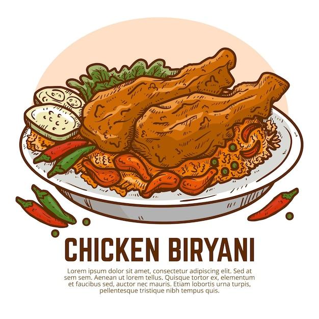 Biryani di pollo disegnato a mano Vettore gratuito