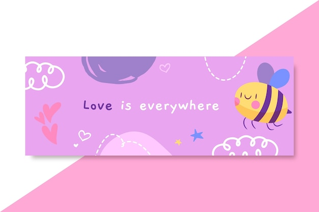 Hand drawn child-like love facebook cover Free Vector