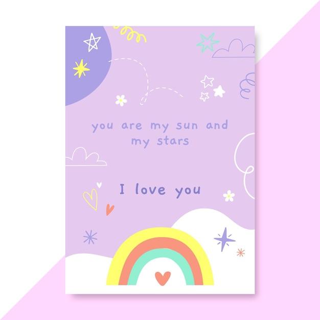 손으로 그린 아이 같은 사랑 포스터 무료 벡터