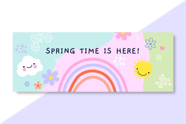 Hand drawn child-like spring facebook cover Free Vector