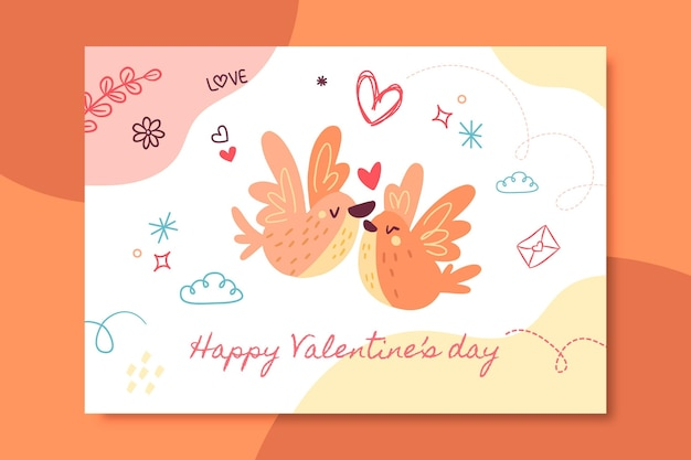 Hand-drawn child-like valentine's day card template Free Vector