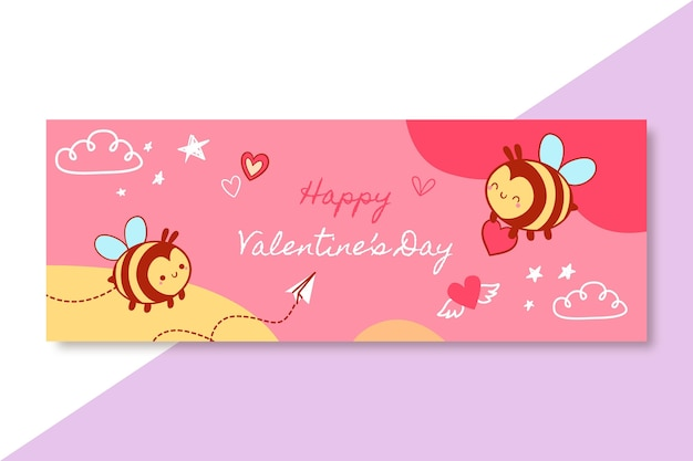 Hand-drawn child-like valentine's day facebook cover template Free Vector
