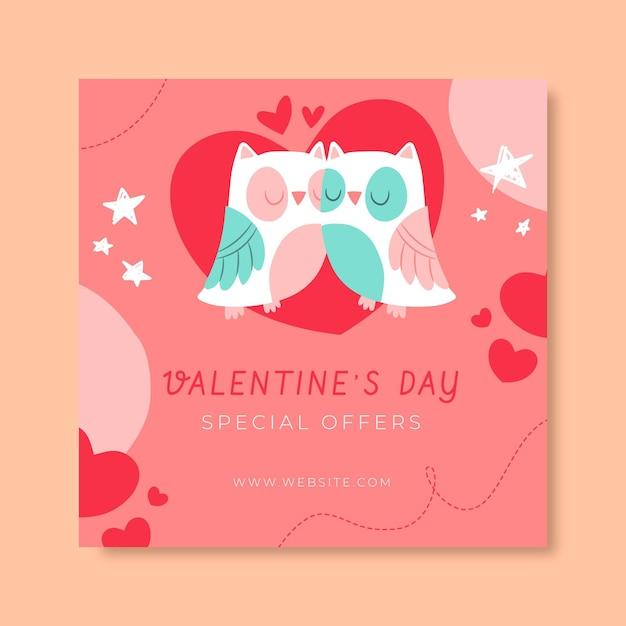 손으로 그린 아이 같은 발렌타인 데이 인스 타 그램 게시물 템플릿 무료 벡터