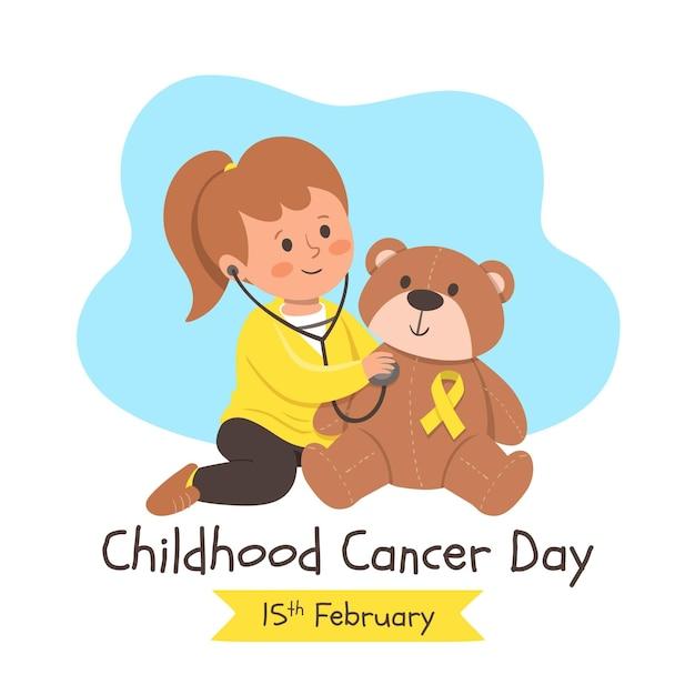 Нарисованная вручную иллюстрация дня рака детства с маленькой девочкой и плюшевым мишкой Premium векторы