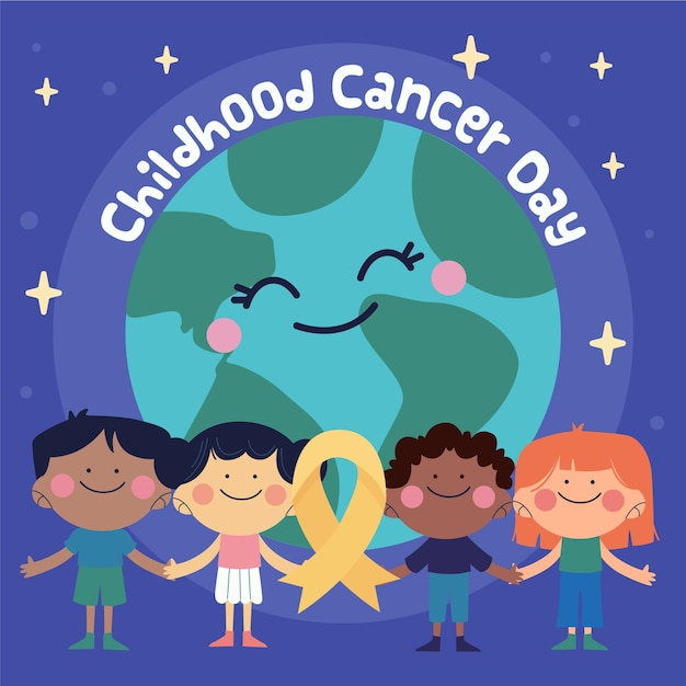 Hand-drawn childhood cancer day illustration with planet and children smiling and holding hands Free Vector