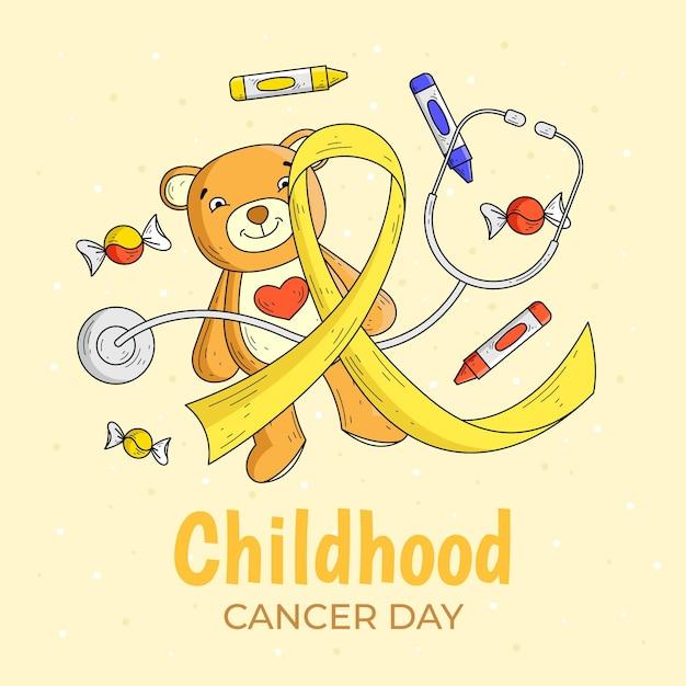 Нарисованная от руки иллюстрация дня рака детства с плюшевым мишкой и лентой Premium векторы