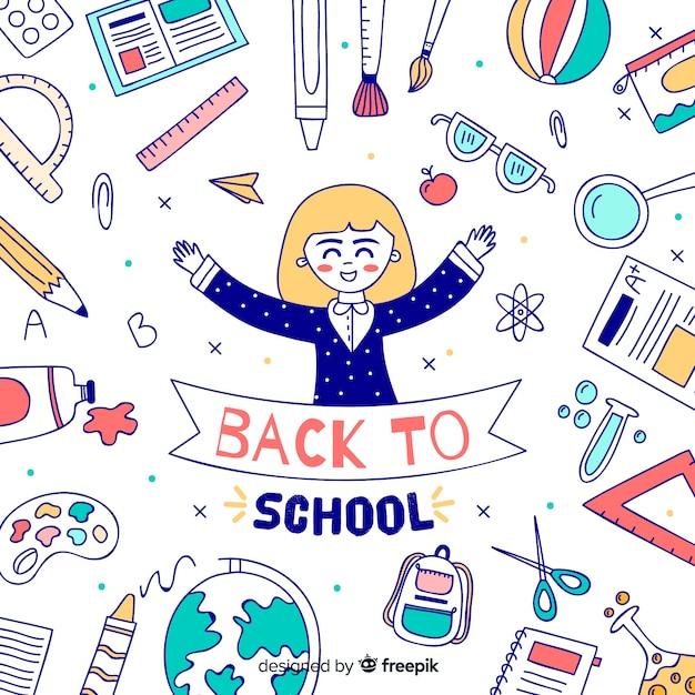 Hand drawn children back to school background Free Vector
