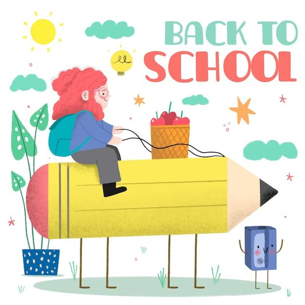 Bambini disegnati a mano torna a scuola illustrazione Vettore gratuito