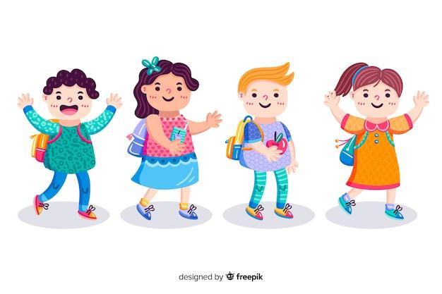 Hand drawn children back to school Free Vector