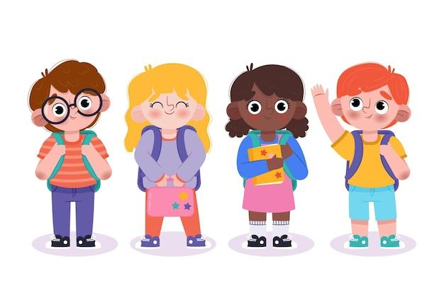 Crianças desenhadas à mão de volta à escola Vetor grátis