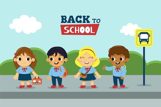 Рисованной детей обратно в школу Бесплатные векторы