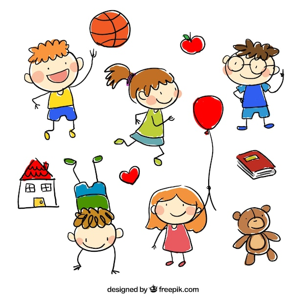 Hand drawn children cartoons Premium Vector