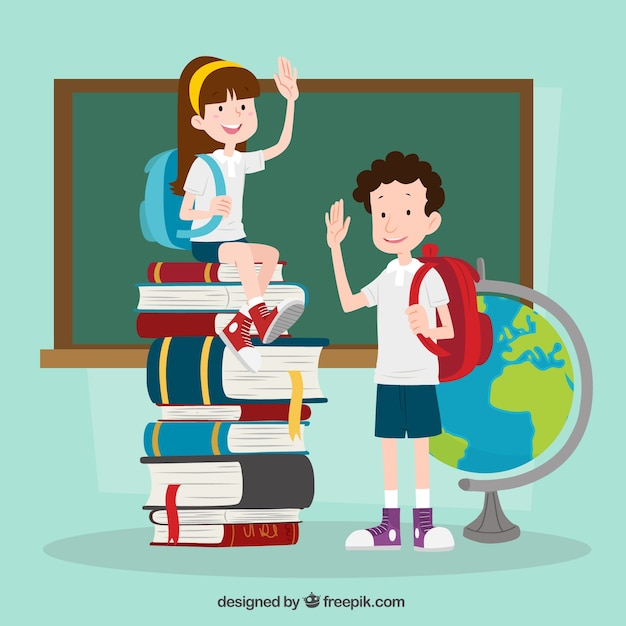 Hand drawn children ready to go back to school Free Vector