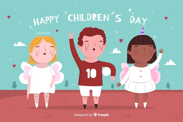 Hand drawn children's day background with kids Free Vector